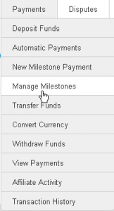 Manage milestone payments